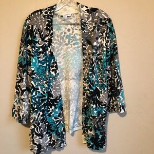Christopher & Banks Gray/Teal Open Front Cardigan
